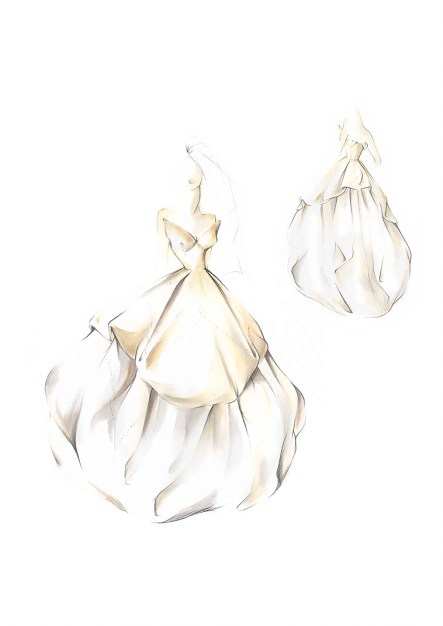 Illustration of the 'Sex and The City' bridal dress made for Sarah Jessica Parker