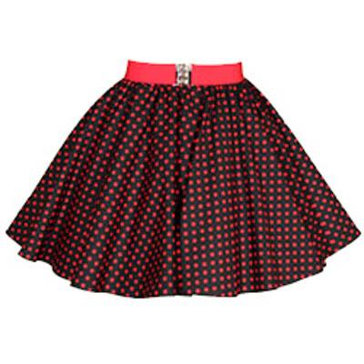 Childs Black / Red 7mm Polkadot Circle Skirt
