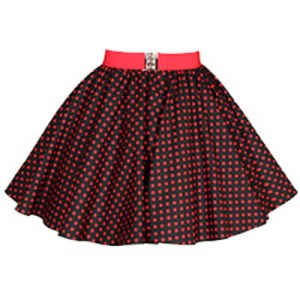 Childs Black / Red 7mm Polkadot Circle Skirt