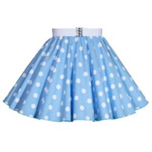 Childs Light Sky Blue / White PD Circle Skirt