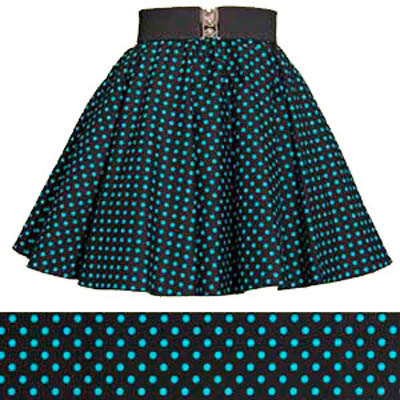a1d34bfd2cff6f Childs Black / Turquoise Blue 7mm Polkadot Circle Skirt