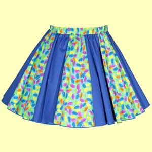 Jelly Beans & Plain Blue Panel Skirt