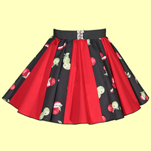 Plain Red & Apples Print Panel Skirt