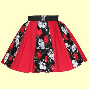 Skulls and Roses & Plain Red Panel Skirt