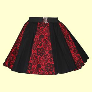 Red Lace & Plain Black Panel Skirt