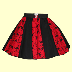 Red Flamingos Print & Plain Black Panel Skirt