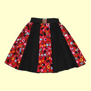 Allsorts Print & Plain Black Panel Skirt