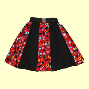 Allsorts Print & Plain Black Panel Skirt