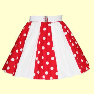Red/White PD & Plain White Panel Skirt