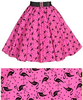 Pink  Flamingos Print Circle  Skirt