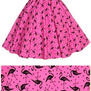 Pink  Flamingos Print Circle  Skirt