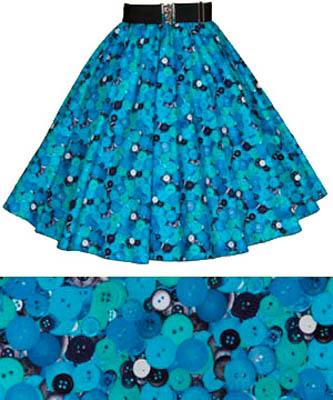 Blue Buttons Print Circle Skirt