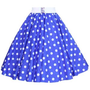 Royal Blue / White Polkadot Circle Skirt