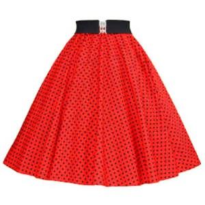 Red / Black 7mm Polkadot Circle Skirt