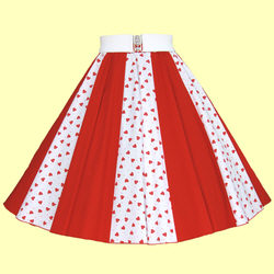 Ladies White with Red Hearts / Plain Red Full Circle Panel Skirt