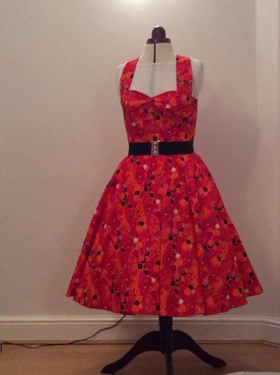 Red Buttons Halter Neck Dress