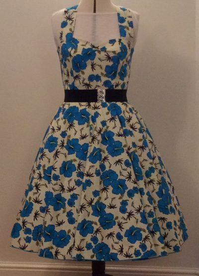 Blue Tropical Halter Dress