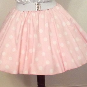 Childs Pale Pink / White PD Circle Skirt