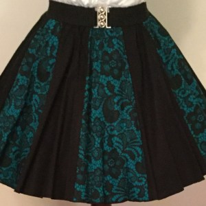 Jade Lace & Plain Black Panel Skirt
