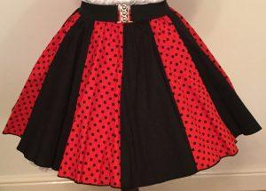 Red / Black 7mm PD & Plain Black Panel Skirt