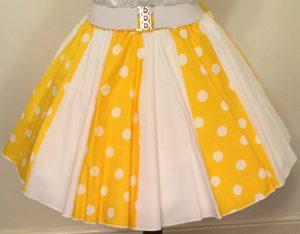 Yellow / White PD & Plain White Panel Skirt