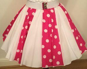 Cerise / White PD & Plain White Panel Skirt