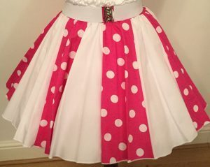 Cerise / White PD & Plain White Panel Skirt
