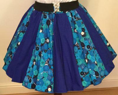 Blue Buttons & Plain Blue Panel Skirt