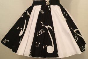 Black Music Notes & Plain White Panel Skirt