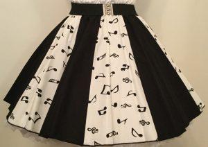 Wht Small Music Notes &  Plain Blk Panel Skirt