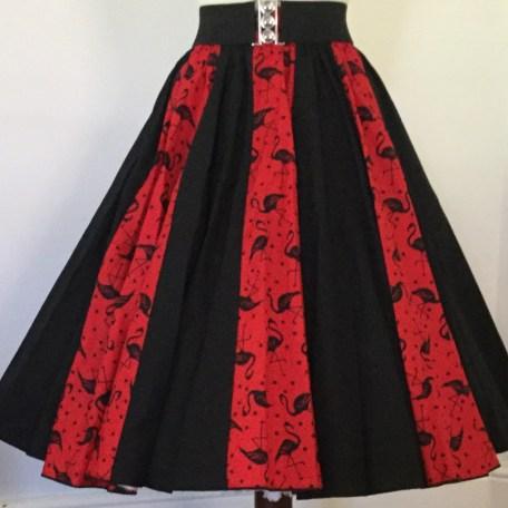 Red Flamingoes and Plain Black Panel Skirt