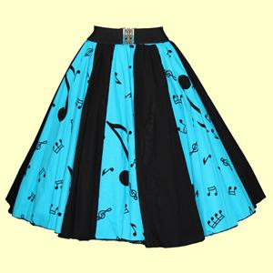 Turq Blue Music Notes / Plain Blk  Panel Skirt