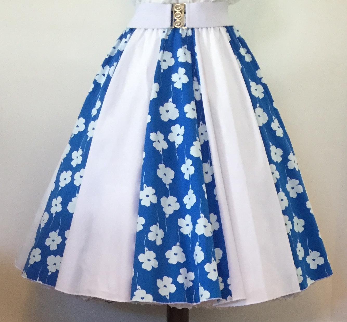 Blue & White Flowers /Plain White Panel Skirt