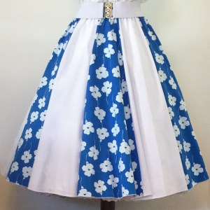 Blue & White Flowers /Plain White Panel Skirt