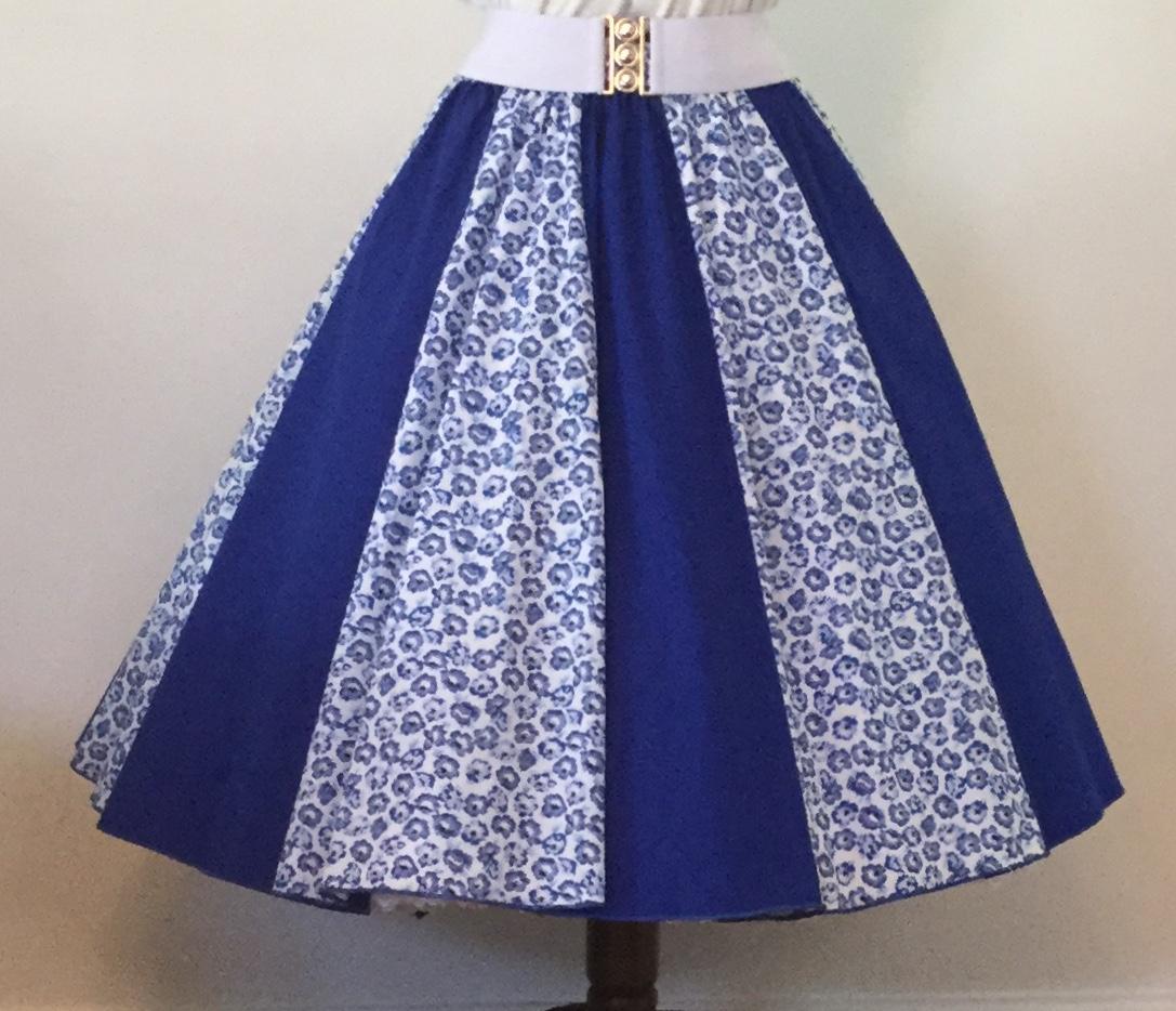 Small Blue Flowers / Plain Blue Panel Skirt