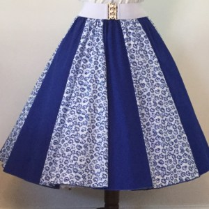 Small Blue Flowers / Plain Blue Panel Skirt