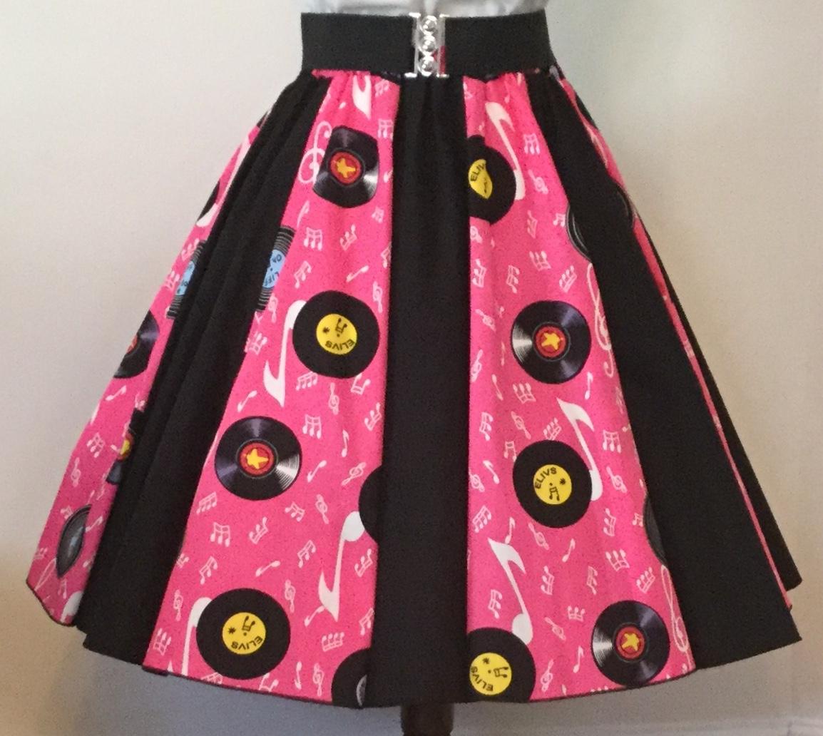 Pink Records / Plain Black Panel Skirt