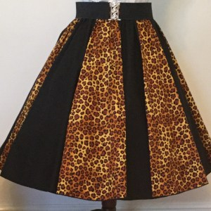 Leopard Print / Plain Black  Panel Skirt