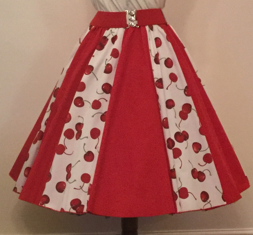Cream Cherries / Plain Red  Panel Skirt