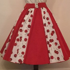 Cream Cherries / Plain Red  Panel Skirt