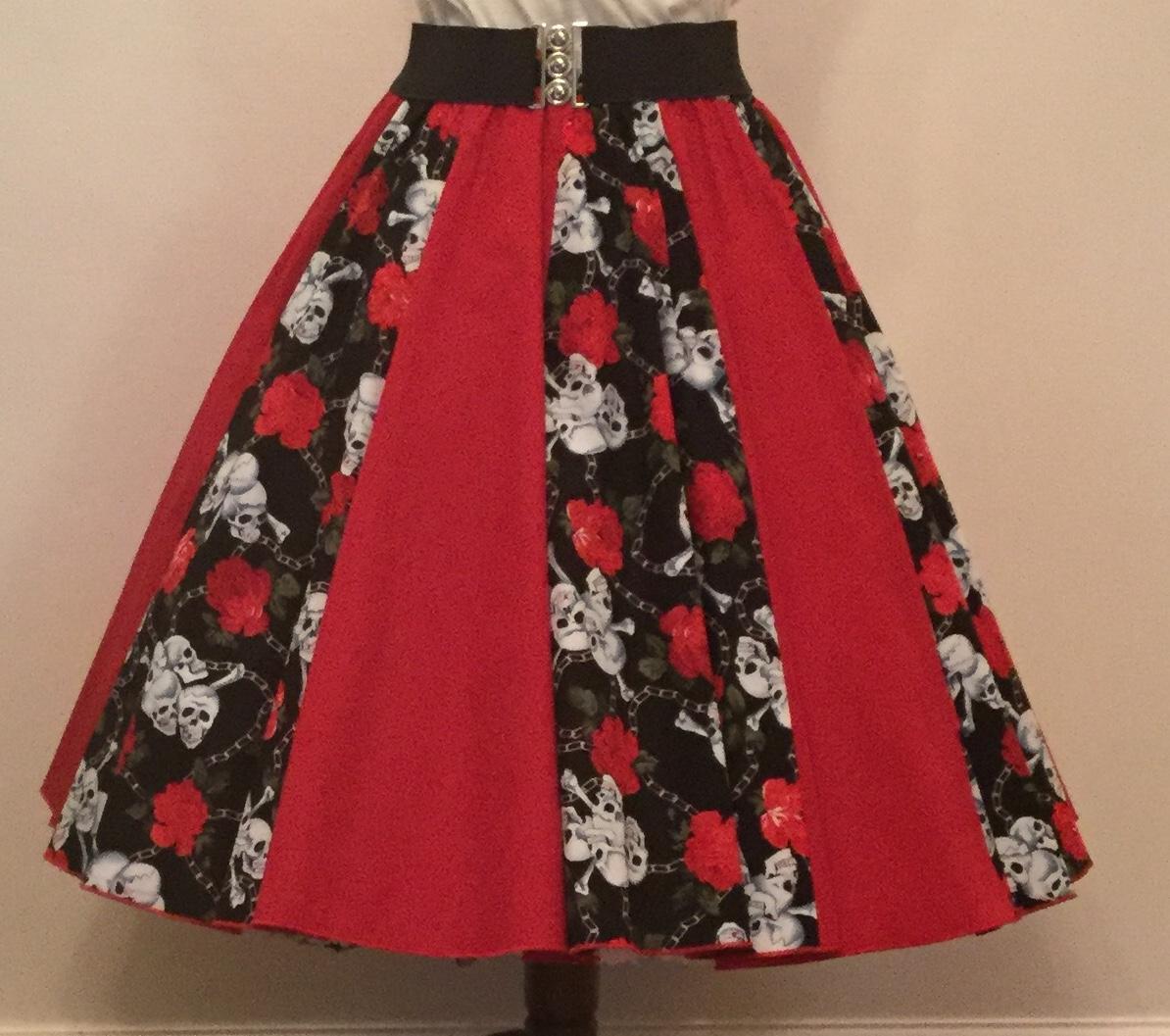 Skulls and Roses / Plain Red  Panel Skirt