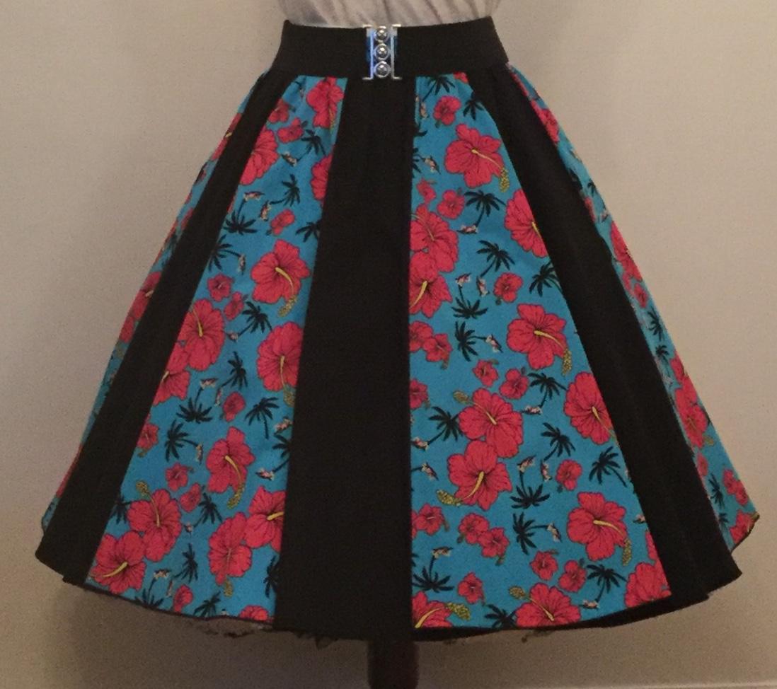 Turquoise Tropical/ Plain Black Panel Skirt