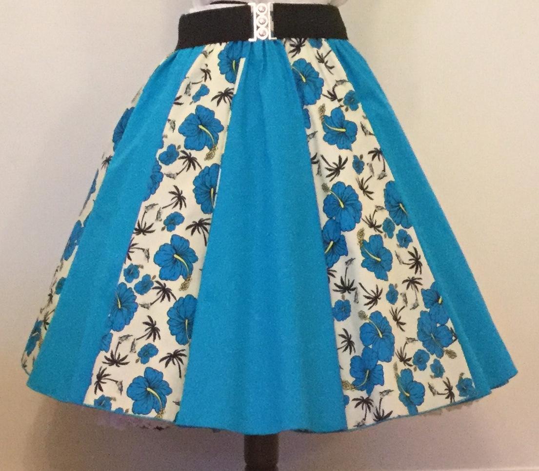 Cream Tropical / Plain  Turquoise  Panel Skirt