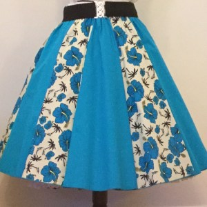 Cream Tropical / Plain  Turquoise  Panel Skirt