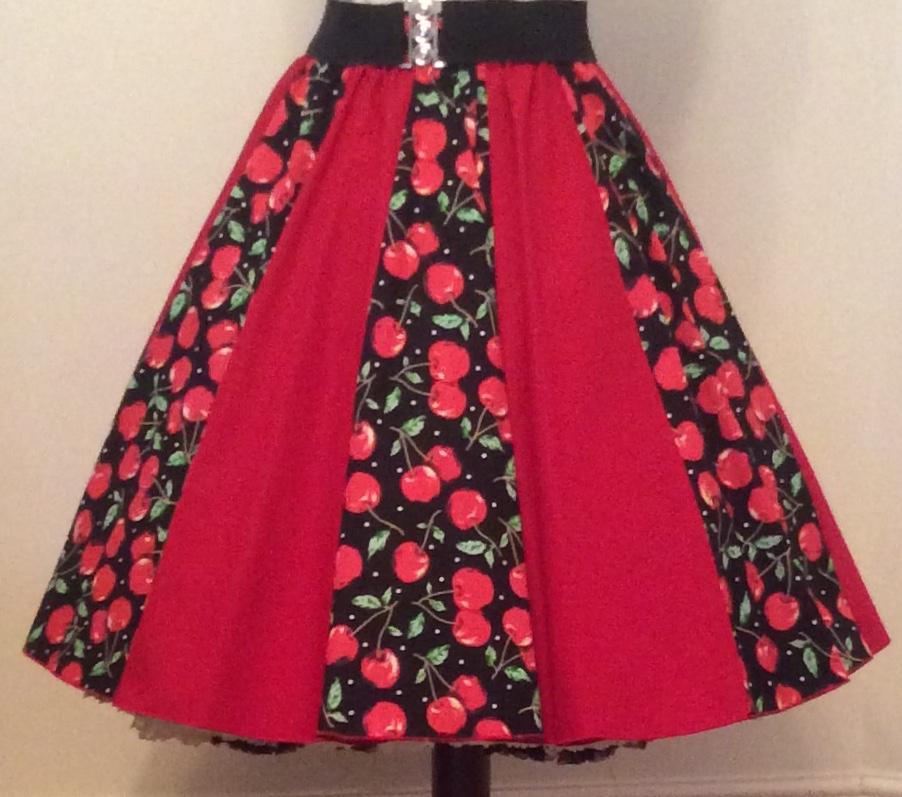 Red Cherries / Plain Red  Panel Skirt