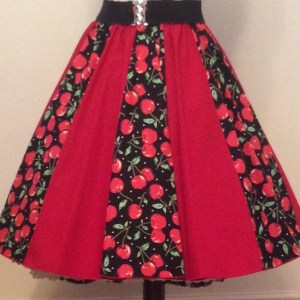 Red Cherries / Plain Red  Panel Skirt