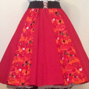 Red Buttons /Plain Red Panel Skirt