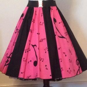 Pink Music Notes / Plain Blk  Panel Skirt