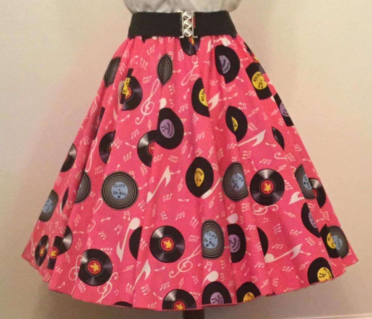Pink  Records Print  Circle Skirt