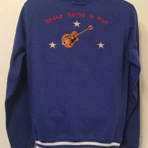 Unisex College Sweatshirt Jacket Royal/ White(Medium)